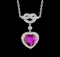3.03 carat heart shaped ruby, diamonds and white gold - Entanglement Collections Garrard