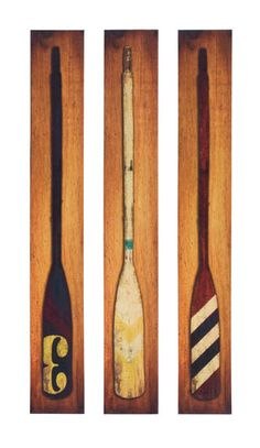 vintage boat oar print on canvas, large wall art trio