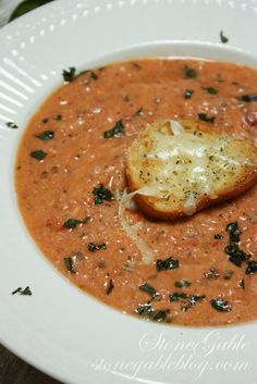 TOMATO BASIL PARMESAN BISQUE~ Slow Cooker Soup.  Made this with grilled cheese sticks and it was awesome. This soup is delicious and thick. Very good for a homemade tomato soup. This batch makes TONS.
