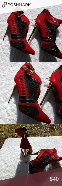 Red Heels These are for that  party girl that just want to have fun!! The heel is gold plated. Shoes Heels