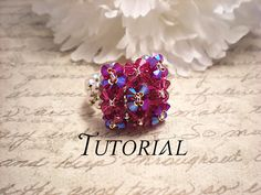 This listing is for a PDF Tutorial for a Right Angle Weave Swarovski Crystal Pillow Top Stretch Cocktail Ring. Diy Rings Tutorial, Bracelet Tutorial, Beaded Rings, Beaded Jewelry, Beaded Bracelets, Peyote Bracelet, Diy Jewelry Projects, Right Angle Weave, Swarovski Pearls