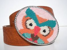 Needlepoint Owl belt buckle in retro pinks n teals n peach colors = perfect