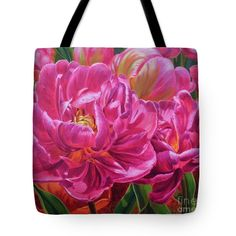 """Tulipomania 8 Magenta Triumph Tote Bag 18"""" x 18"""" from a painting by Fiona Craig (the FAA watermark is NOT on the actual product). Also in wall art prints, duvets and throw pillows. See www.fionacraig.com"""