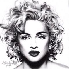 Photorealism charcoal drawing of Madonna. Beautiful!