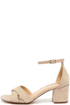a4df6f3f776d Add a dash of darling to your everyday look with the Pretty Much Natural  Suede Heeled Sandals! Vegan suede crisscrosses over the toe and shapes an  ...