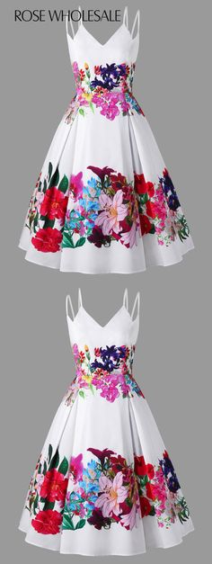 Plus Size Double Straps Floral Swing Dress Mod Fashion, Plus Size Fashion, Womens Fashion, Dress Fashion, Pretty Dresses, Beautiful Dresses, Mexican Dresses, Prom Dresses, Summer Dresses