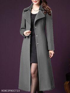 Notch Lapel Belt Plain Coat - berrylook.com Abaya Fashion, Fashion Outfits, Black Dress Coat, Coatdress, Ladies Coat Design, Kurti Designs Party Wear, Coats For Women, Casual, Clothes