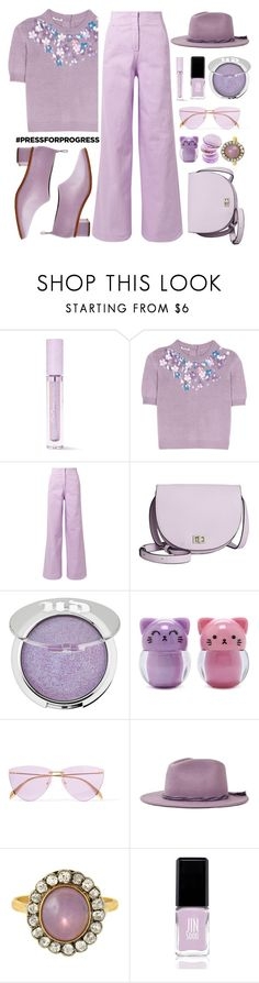 """International Women's Day: Purple Power"" by queenvirgo ❤ liked on Polyvore featuring Lime Crime, Miu Miu, TIBI, Steve Madden, Urban Decay, Forever 21, Alexander McQueen, Brixton, JINsoon and purplepower"