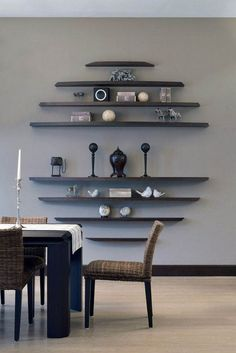 3 Easy And Cheap Tricks: Black Floating Shelves Frames floating shelves different sizes design.Floating Shelves Living Room Around Tv rustic floating shelves industrial pipe.Floating Shelves With Lights Apartment Therapy. Dining Room Wall Decor, Dining Room Design, Dining Rooms, Decor Room, Bedroom Decor, Dining Sets, Small Dining, Bedroom Sets, Dining Tables