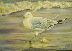 Seagull on the Beach Oil painting original by vintagejetpatterns, $45.00