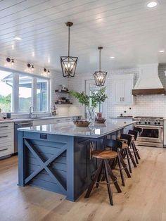 Blue Kitchen Island, Farmhouse Kitchen Island, Modern Farmhouse Kitchens, Kitchen Redo, Home Decor Kitchen, New Kitchen, Home Kitchens, Kitchen Modern, Farmhouse Ideas
