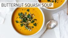 Butternut squash soup is a classic fall and winter soup recipe. But today we're roasting the butternut squash, which gives so much more depth of flavor and makes the recipe even easier (as you don't have to cut the butternut squash). Soup Recipes, Vegan Recipes, Cooking Recipes, Cooking Videos, Vitamix Recipes, Vegan Soups, Vegan Food, Delicious Recipes, Recipes