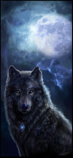 black wolf. Artist copyright unconditionally acknowledged - just wish I could create such stunning pieces.