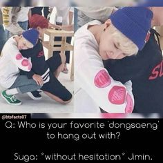 I love their relationship. Suga Loves Jimin like a brother, and I find it so great :,D BTS Facts