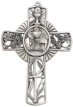 Jeweled Cross Chalice First Holy Communion Antique Pewter Wall Cross