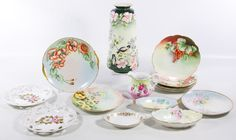 """Lot 414: Hand Painted Porcelain Assortment; Including Nippon, Limoges, KPM and Bavarian marked dishes and a vase signed """"E. Zoost '09"""" on the underside"""
