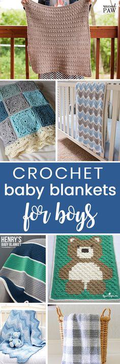 Crochet these easy beginner friendly baby blanket afghans for boys, all free crochet patterns!