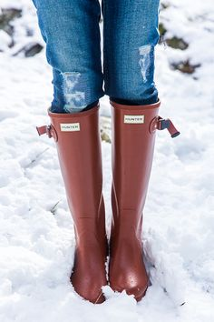 Hunter boots in red chestnut