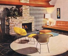 mid mod living room with Knoll Bertoia chairs - 1963