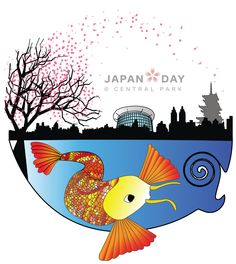 Art Submission for Japan Day - Combining themes of Central Park, NYC and Japan.  Created from vectors in Adobe Illustrator.