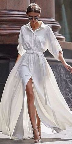 белое платье рубашка, длиное платье рубашка в пол