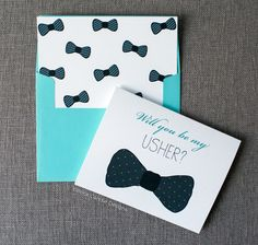"Rock Candie Designs Will You Be My Usher Card is the perfect way to ask a friend or family member to be an usher at your wedding. A cute bowtie look is sure to make them say ""yes!"""