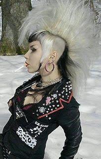 kinda storm-y Deathrock Fashion, Punk Fashion, Punk Rock Girls, Goth Girls, Death Metal, Mohawk Styles, Hair Styles, Rockabilly, Photo Rock