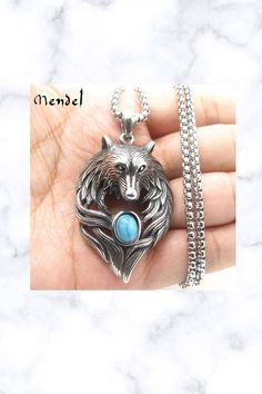 Turquoise Wolf Head Pendant Necklace Men Necklace, Pendant Necklace, Fantasy Jewelry, Wolf, Gemstone Rings, Silver Rings, Handmade Items, Turquoise, Gemstones