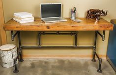 DIY Pipe Desk Plans, Pipe Table Ideas and Inspiration Home Office Furniture, Small Home Offices, Wood And Metal, Desk, Furniture, Metal Desks, Home Furniture, Desk Furniture, Industrial Furniture