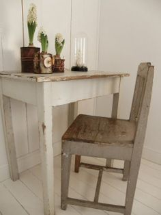 Rustic desk and chair.