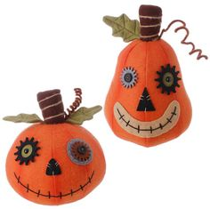 """RAZ Plush Halloween Pumpkin Set of 2   Assorted Jack O'Lanterns Set includes one of each style Orange Made of Polyester Measures 9.5"""" X 6.5"""", 8"""" X 7.5""""  RAZ 2015 Natural Halloween Collection Additional image shows pumpkins with other items that are not included."""