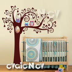 Children+Wall+Decal+Wall+Sticker+Cute+Owls+on+Tree+by+evgieNev