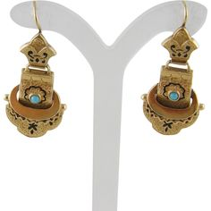 Antique 14 Kt Gold ENAMEL TURQUOISE Buckle Style Earrings