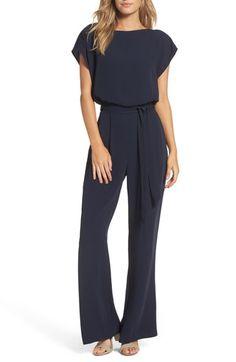 a4449fce0eb Eliza J Cap Sleeve Wide Leg Jumpsuit