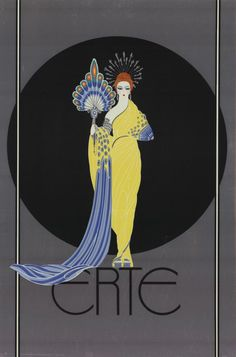 I love the drama in this image which I feel is created by the combination of bright yellow against muted blues-grey. Artist: Erte; Title: Goddess in Yellow, 1982; Medium: Offset Lithograph;
