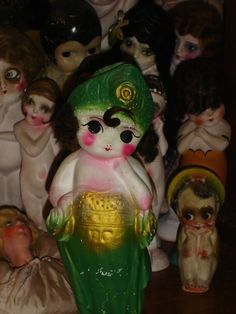 Rare Vintage Chalkware Flapper Kewpie Doll by flapperdashery