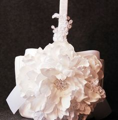 White Lace Basket with Rhinestone Flower and Bows  by YANDEBRIDAL, $65.00