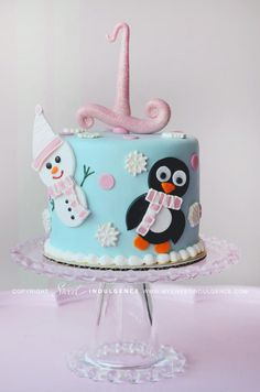 Winter cake penguin and snowman 3 12 2013 First Birthday Cakes, Birthday Cake Girls, 4th Birthday Parties, Birthday Celebrations, Birthday Ideas, Christmas Cake Decorations, Holiday Cakes, Christmas Cakes, Christmas Ideas
