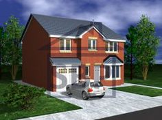 SCARLET BERRY - BRICK COTTAGE House Plans Uk, Brick Cottage, Double Garage, Bay Window, Scarlet, Shelter, Living Spaces, Lounge, Windows