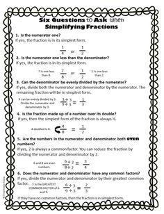 Simplifying Fractions Worksheet Printable