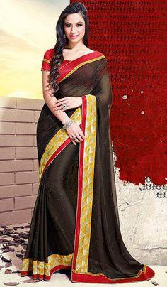 G3 Fashions Jai ho Black chiffon designer saree  Product Code: G3-LS15209 Price: INR RS 2984
