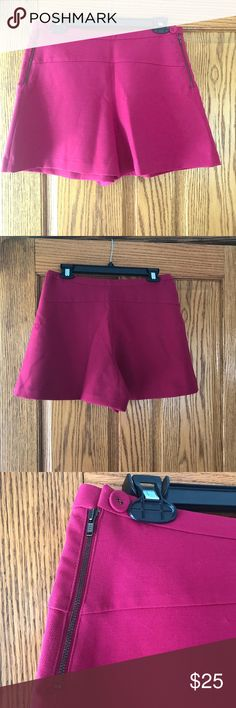 Leifnotes Azalea Shorts Wide legged shorts with side zippers and buttons are a super cute way to dress up an outfit for summer. NWOT, these shorts can give the appearance of a short skirt but with the comfort of shorts! The color is a rich pink color (in some of the photos it appears more red). Please let me know if I can provide any additional information! Anthropologie Shorts