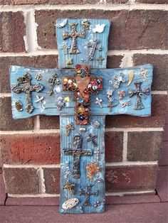 Wood Wall Cross / Rusty Cross / Distressed Wall by TotallyCrosses 14 X 12