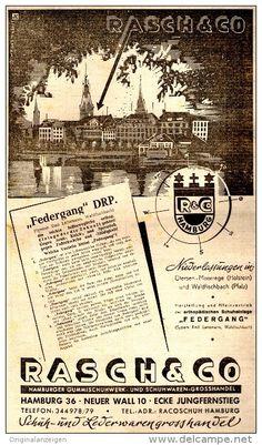 Original-Werbung/ Anzeige 1948 - SCHUH - UND LEDERWARENGROSSHANDLUNG RASCH & CO. - HAMBURG - ca. 155 x 240 mm