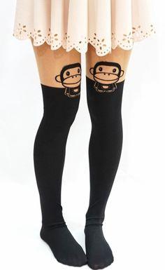 Monkey mock knee high tights