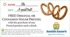Second pretzel free with your drink at Auntie Annes coupon via The Coupons App