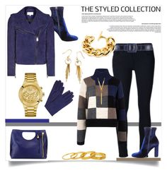 """""""The Styled Collection: Suede Jacket, Sweater & Jeans"""" by helenaymangual ❤ liked on Polyvore featuring Frame Denim, Current/Elliott, Steve Madden, John Lewis, Oscar de la Renta, BERRICLE, Ben-Amun, GUESS and Gorjana"""