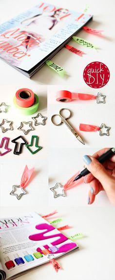 Magazine Bookmarks DIY - quick & easy. Washi Tape & IKEA Paper-Clips. So schnell kann man sich kleine Lesezeichen basteln!