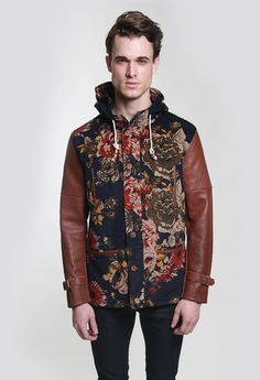 The Royal Versailes Floral Fishtail Parka Jacket in Navy/Brown