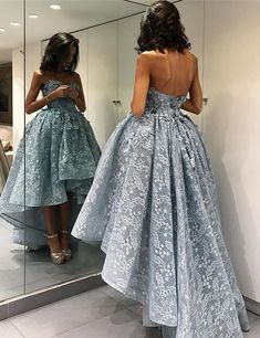 2017 prom,High Low Lace Prom Dress, Lace Prom Dresses,Blue Prom Dresses,Cheap Prom Dresses,